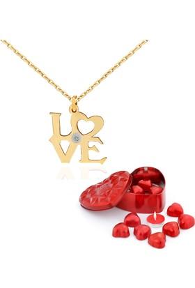 Chavin Love Aşk Pırlanta Taşlı Bayan Altın Kolye Dm71