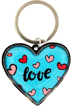 Myros Aşk Temalı 2 Taraflı Kalp Şekilli Anahtarlık
