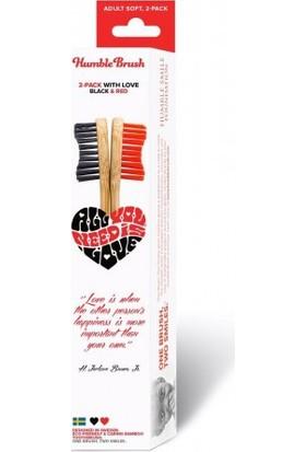 Humble Brush Bambu Yumuşak Diş Fırçası 2'li Sevgililer Gününe Özel Paketi - Kırmızı/Siyah