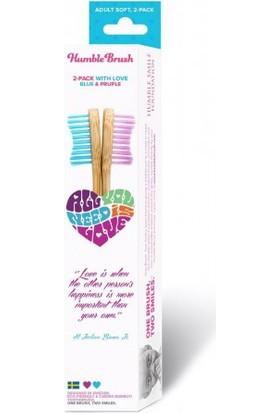 Humble Brush Bambu Yumuşak Diş Fırçası 2'li Sevgililer Gününe Özel Paketi - Lila/Mavi