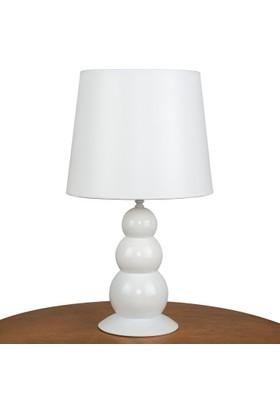 Superlight Topik Beyaz Abajur. Beyaz Kumaş Şapkalı