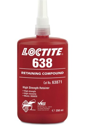 Loctite 638 250 Ml Anaerobik Yükseltilmiş Isı Dayanımlı Sıkı Geçme 0,25 Mm