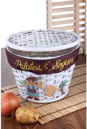 LoveQ Bambu Kapaklı Patates Soğan Sepeti