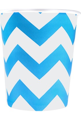LoveQ Bardak Kağıt 270 Cc Mavi Zigzag 8X9 Cm 8'li Pk