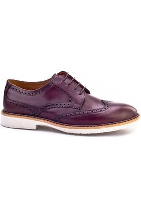 Cabani Bağcıklı Günlük Erkek Ayakkabı Bordo Deri