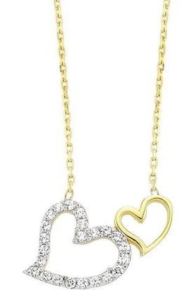 Altında Moda Sarı Beyaz Altın Çift Kalp Kolye