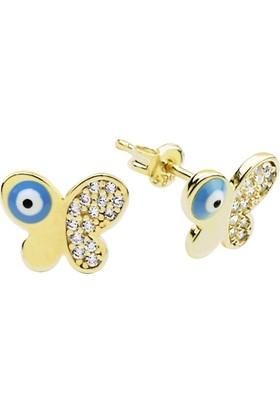 Altında Moda Mavi Gözlü Kelebek Küpe