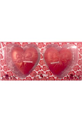 KullanAtMarket Kırmızı Fiyonk Kalp Mum 2'Li