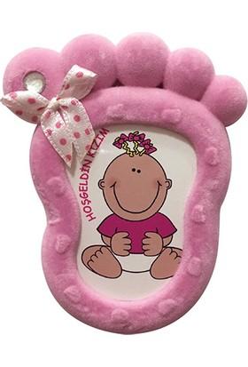 KullanAtMarket Pembe Ayak Kadife Bebek Çerçeve