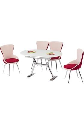 Azzore Çilek Desenli Camlı Mutfak Masası Takımı