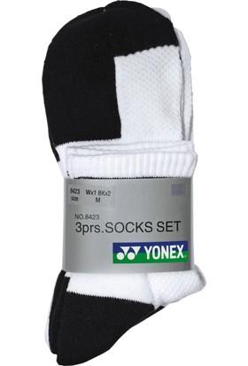 Yonex Badminton Tenis Ss8423 3.Lü Kısa Çorap - Siyah/Beyaz