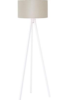 Peta Kumaş Başlıklı 3 Ayaklı Tripod Lambader - Krem / Beyaz