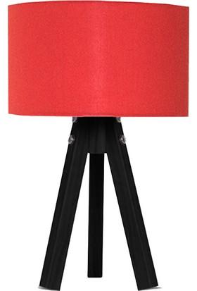 Peta Kumaş Başlıklı 3 Ayaklı Tripod Abajur - Kırmızı / Siyah