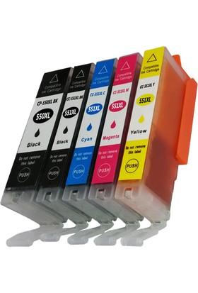 Ekoset Canon Pgı-550Xl, Clı-551Xl 5 Renk Muadil Kartuş