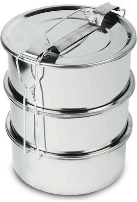 Çubuk Çelik Sefer Tası - Yemek Taşıma Tası 3 Katlı En-Boy17 Yükseklik21 Cm