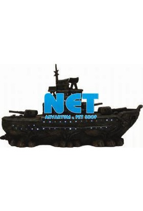 Chıcos Işıklı Savaş Gemisi (28X8X13.5) Akvaryum Dekor