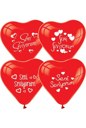Zoziko 10 Adet Seni Seviyorum Kalp Balon