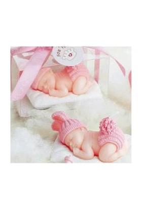 Pasta Mağaza Ponpon Bezli Uyuyan Bebek Sabun Kalıbı