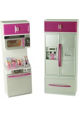 Candy Oyuncak Mutfak Dolabı Bulaşık Makinesi Buzdolabı Sesli Işıklı