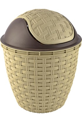 Tuffex Rattan Roboklik Çöp Kovası No 1 - Krem (3 Lt)