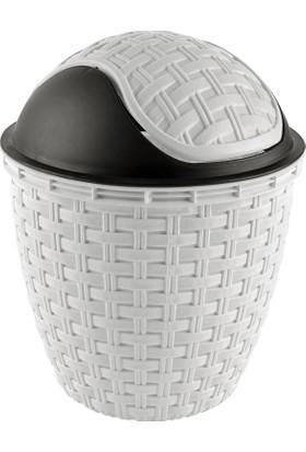 Tuffex Rattan Roboklik Çöp Kovası No 1 - Beyaz (3 Lt)