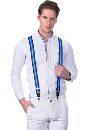 Tudors Mavi Turkuaz Çizgili Erkek Pantolon Askısı