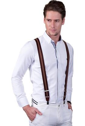 Tudors Kahverengi Çizgi Desenli Erkek Pantolon Askısı