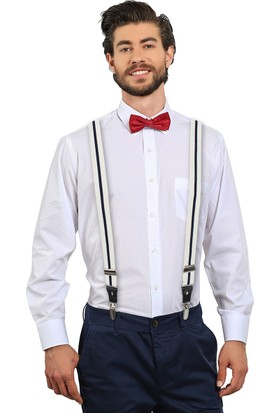 Tudors Beyaz Düz Erkek Pantolon Askısı