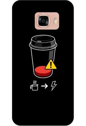 Kapakolur Samsung C7 Coffee Kahve Kapak Kılıf + Koruyucu Cam