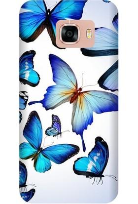 Kapakolur Samsung C7 Kelebek Kapak Kılıf + Koruyucu Cam