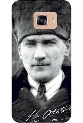 Kapakolur Samsung C7 Atatürk Kapak Kılıf + Koruyucu Cam