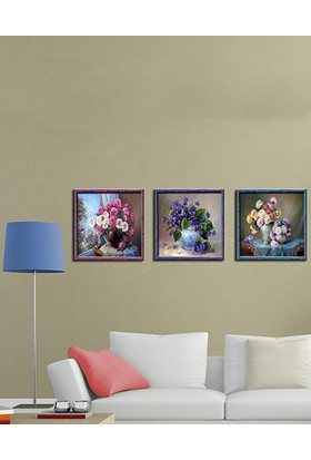 Evinemoda Çerceve Baskılı Dekoratif 3'Lü Mdf Tablolar - 3Dekor-525