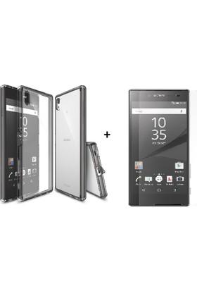 Case 4U Sony Xperia Z5 Premium Kılıf Full Kristal Kapak + Cam Ekran Koruyucu
