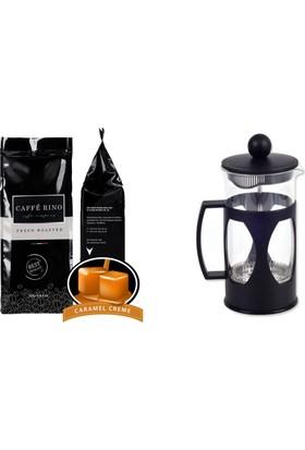 Caffe Rino Karamel Aromalı Filtre Kahve + French Pres 350 ml