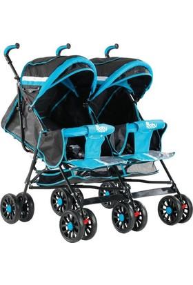 Babyhope Bh-610 İkiz Baston Bebek Arabası Mavi