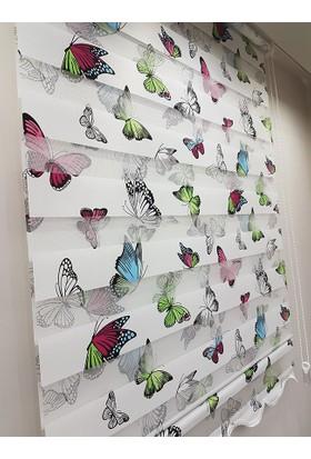 Biribenibitirsin Kelebek Desenli Stor Zebra Perde MZ131