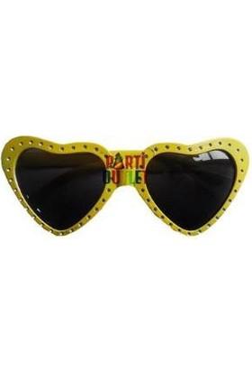 Partioutlet Taşlı Kalp Gözlük Sarı