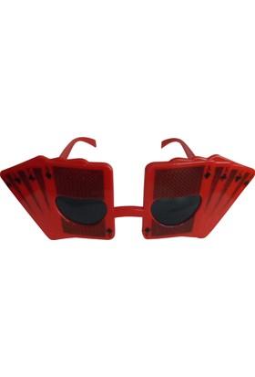 Partioutlet İskambil Kartları Şeklinde Gözlük - Kırmızı