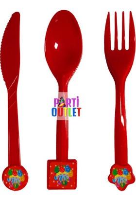 Partioutlet Doğum Günü Temalı Çatal Kaşık Bıçak Seti
