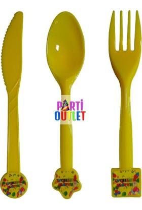 Partioutlet Happy Birthday Temalı Sarı Çatal Kaşık Bıçak Seti