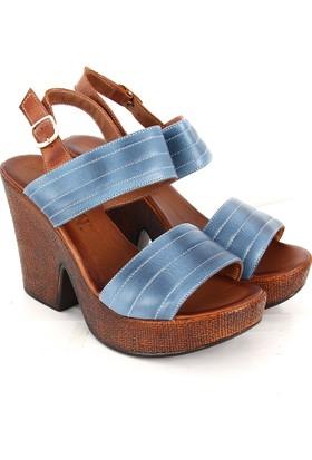 Gön Deri Kadın Sandalet 32244 Mavi Antik