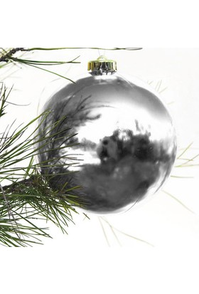 Partioutlet Yılbaşı Gümüş Top Süs - 20 Cm