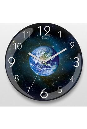 İf Dizayn Uzaydan Dünya Görüntüsü Sessiz Duvar Saati