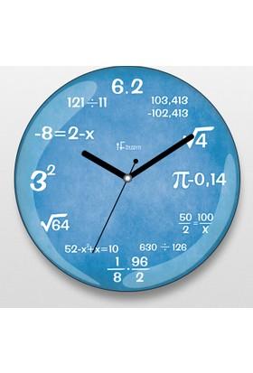 İf Dizayn İf Dizayn Matematik Duvar Saati Mavi