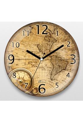 İf Dizayn Eski Dünya Haritası Tasarım Sessiz Duvar Saati