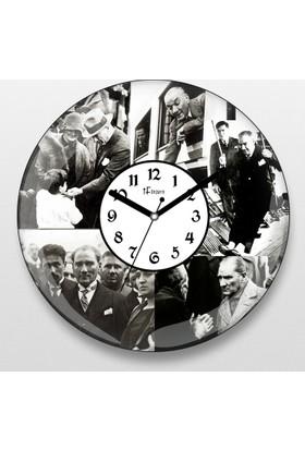 İf Dizayn Atatürk Kolaj Tasarım Sessiz Duvar Saati