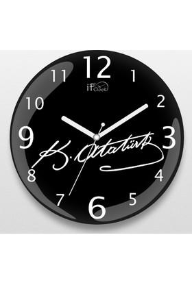 İf Dizayn Atatürk İmza Baskılı Sessiz Duvar Saati