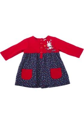 Tuc Tuc Bebek Elbise, Nordic Kırmızı - Lacivert Çiçekli