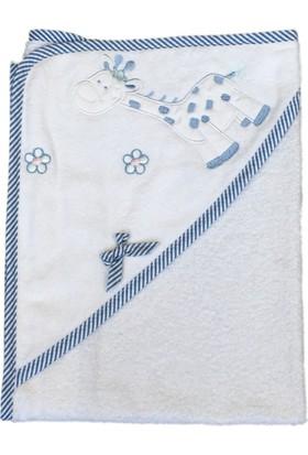Sevil Triko Bornoz Bebek Beyaz - Açık Mavi