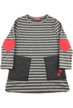 Karamela Çocuk Elbise, Kalp Antrasit Melanj Çizgili